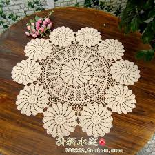 rectangular dining table cover cloth knitted vintage:  new arrival cotton tablecloth with flower crochet round table cloth cutout knitted table runner table mat table cover