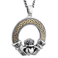 mens irish jewelry sterling silver 10k gold celtic claddagh pendant