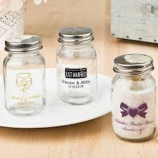 3 5 ounce clear glass mason jars personalized with wedding design and 2 lines of custom print