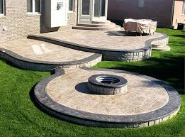 stamped concrete patio with square fire pit. Concrete Backyard Cost Stamped Patio With Fire Pit Remarkable  Throughout Home . Square