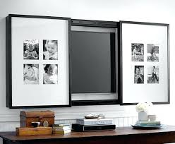 framing tv on wall gallery frame cover to display photos or artwork for a inch pottery barn via photo frame tv wall mount framing for tv mounted on