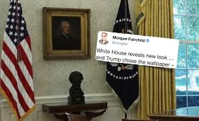 oval office wallpaper. President Trump Returned To His Roots As A Hotelier By Spearheading The West Wing Renovations, Particularly Oval Office And Chose Elegant Wallpaper