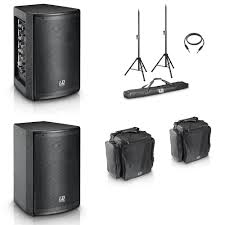 speakers and stands. ld systems - mix6 portable pa system powered speaker w/built in mixer, additional passive speaker, 2 stands, carry bags for speakers and stands h