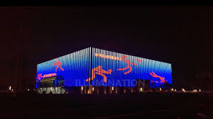 building facade lighting. Fitness Center Building Exterior Facade Lighting Outdoor LED Decoration