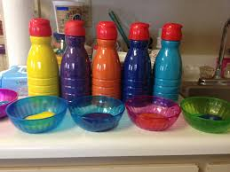 great way to use old coffee creamer bottles. keeps paint fresh and makes  pouring easy