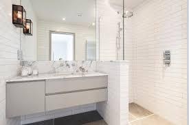 Apothecary jars bathroom bathroom contemporary with pony wall in ...