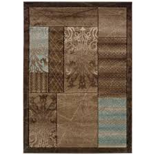 linon home decor milan collection brown and aqua 8 ft x 10 ft indoor