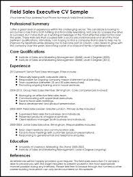 Field Sales Executive Cv Sample | Myperfectcv