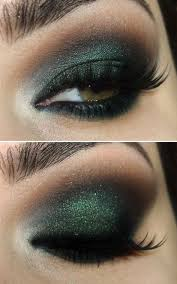 dark green and black eye makeup w a bit of sparklies we can create