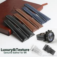 deployment buckle clasp calf leather skin genuine leather watch band watch strap for breitling watch man 20mm 22mm 24mm black blue with tool nato watch