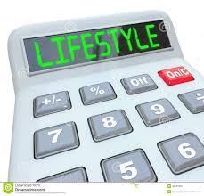 Lifestyle Word Calculator Figure Budget Spending Finances Stock