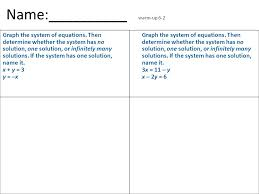 name warm up 6 2 graph the system of equations