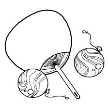 うちわとヨーヨー白黒花火夏祭り夏枠ふきだし無料イラスト素材