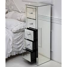 tall venetian mirrored glass bedside table with five drawers and glass handles