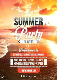 Summer Break Beach Party Flyer Template Event Free Definition Word ...