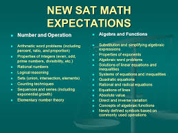 12 new sat math expectations number and operation arithmetic word problems including percent ratio and proportion properties of integers even odd