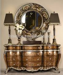 Retro Hand Painted Console Cabinet With MirrorElegant Gilding Chest