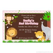 Personalised Birthday Invitations For Kids 30 Personalised Invitations Jungle Birthday Party Kids Girl Pink
