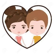 カラフルなハート型短い茶色の髪と似顔絵新婚カップルの新郎と彼女の