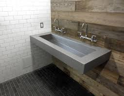 custom floating wall mount concrete sink by trueform concrete wall mount faucets and reclaimed wood