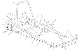 Weldments and parts to build the go kart use the numbers on this illustration with the list of parts below it