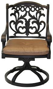 mandalay cast aluminum powder coated 4 swivel rocker dining chairs with walnut seat cushions antique