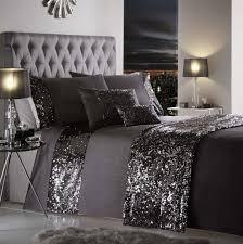 Dazzle Sequin Detail Charcoal Duvet Cover Sets | All Sizes & dazzle charcoal grey duvet cover sets Adamdwight.com