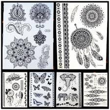 25 Styly Non Toxické žen Henna Tetování černé Falešné Lotus Květina