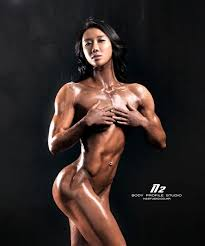 Body building fitness nude woman