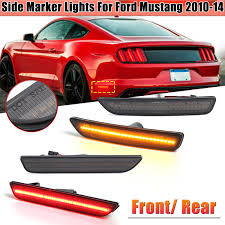 2014 Mustang Side Marker Lights Front Rear Led Side Marker Lights Turn Signals Lamps Smoked Pair For Ford Mustang 2010 2014