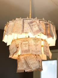diy light fixtures design inspiration unique book pages chandelier lamp shade feature