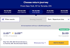 1 megabus tickets from toronto to new