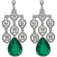 faux diamond emerald shimmering large girandole chandelier earrings for