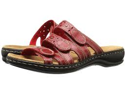 Spring Summer Clarks Leisa Cacti Q Red Leather Black Leather women shoes  JFLONFFXW