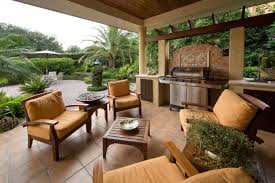 furniture living spaces. Place Wooden Living Spaces Furniture For Old Fashined Patio With Barbeque Counter And Stone Flooring I