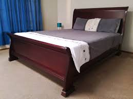 solid wood sleigh bed queen size extra length
