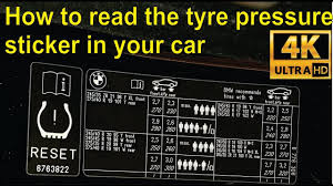 How To Read The Tyre Pressure Sticker In Your Car Detailed