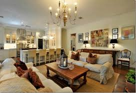 Beige Sofa Set With Dark Brown Wooden Coffee Table For Impressive Cozy  Family Room Ideas With Gold Chandelier