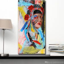 wall art beauty native american indian girl home decor on canvas modern wall art canvas print poster canvas painting no framed canada 2019 from