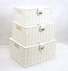 Arpan Set of 3 Resin Woven Storage Basket Box With Lid \u0026 Lock ...