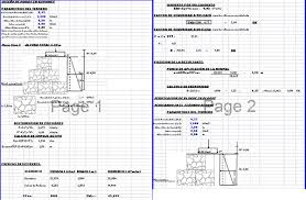 Small Picture Spreadsheet calculations re gabion type wall in DOCUMENT BiblioCAD