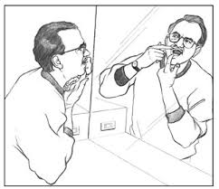 holding a mirror drawing. drawing of a man holding his mouth open with fingers and looking in mirror