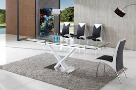 axel modern glass dining table with angel chairs