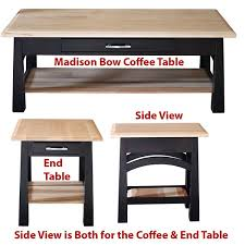 madison bow coffee table amish oak or cherry table hardwoods