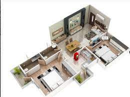 1700 square feet two bedroom home plan