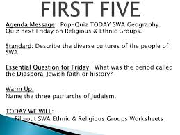 FSMS 7 th Grade Social Studies; Unit 2 Culture (Religions; Intro ...