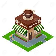 coffee shop building clipart. Unique Clipart Isometric Icon Coffee Shop Building Isolated On White Background Clipart D