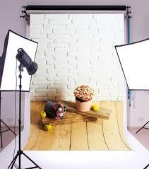 8x12 background vinyl photo backdrop studio prop white brick wall wooden floor