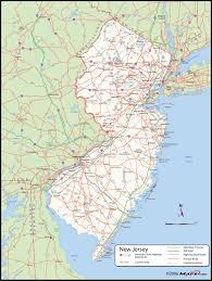 new jersey county wall map  mapscom
