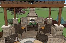 patio designs with fireplace. Patio With Pergola Over Fireplace Area | Designs And Ideas D